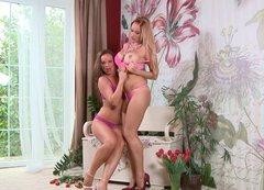 Silvia and Stacy Pink posing wearing tempting  lingerie