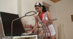 Too horn-mad nurse with pigtails Iveta uses a dildo to drill her wet cunt