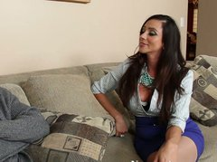 Big breasted brunette Ariella Ferrera gives her partner a hot titjob