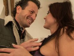 Divine brunette babe Kate Jones gives skillful blowjob to aroused lover