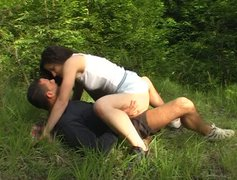 Hot tempered brunette cutie hops on hard cock in reverse cowgirl style