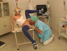 Ardent slim blondie in stockings Ratna gets her pussy licked by old surgeon