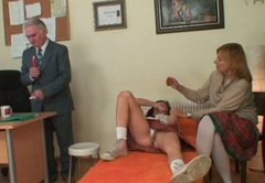 Spoiled brunette Michaela Q gets examined by horny doctor