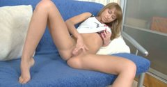 Magnetizing babe strip teases and fucks passionately