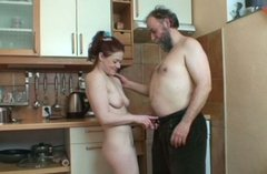 Lucky graybeard wins a chance to eat the juicy pussy of buxom gal Katerina