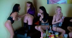 Buxom lesbian cuties are having an unforgettable fun at the party