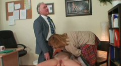 Wicked threesome orgy with slutty brunette Michaela Q.