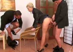 Voracious blond office managers get fucked by her bosses in doggy style