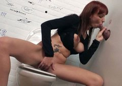 Cum addicted nympho Sofia sits on the toilet bowl and sucks a hot dick
