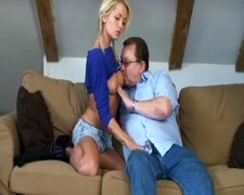Cute and sexy blondie Adela B gets her wet pussy tickled by fat old man