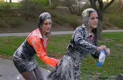 Wild, wet and messy lesbian action in the park