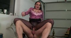 Bitchie secretary with smeared makeup rides a stiff dick on the table