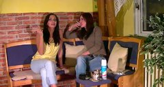 Dirty-minded slim brunettes get rid of jeans and piss right in the cafe