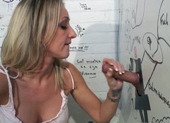 Spoiled cum hungry bitch Natacha gonna suck a dick through the glory hole