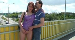 Spoiled amateur bitch Jan sucks a stiff dick for cum right on the bridge