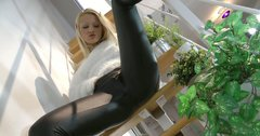 Admirable blondie named Cherry Kiss masturbates on the stairs