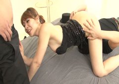 Horn-mad Asian chick Koda Riri gets rid of dress and switches to suck dicks