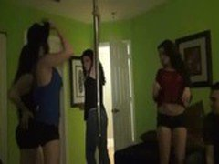 Hotties gets turned on after pole dancing and ends up in an sex party
