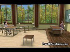 Foxy 3D cartoon schoolgirl babe getting fucked hard