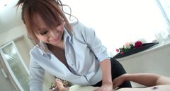 Lucky guy gets a blowjob from horny Japanese masseuse Anna Mizukawa