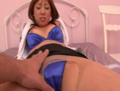 Salty Japanese hoe Asuka gets her soaking cunt finger fucked through panties