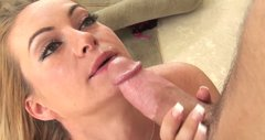 Awesome Aline takes a load of cum in her mouth hole