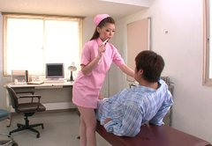 Luscious Japanese nurse Ayumi Kobayashi gives a head to patient