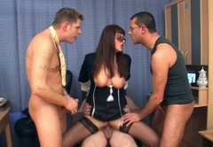 Black haired clerk Katharina gets her quim polished on the table by dudes