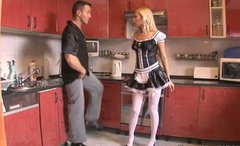 Seductive maid Donna Bell goes nuts while riding a stiff hot dick for joy