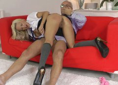 Lewd and busty British gal Lou Lou seduces grey haired man for sex
