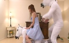 Cute Japanese princess Chisato Mukai takes part in hot threesome