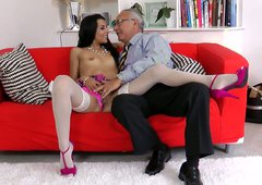 Almost titless gal Lou Charmelle seduces old man and rides his dick madly