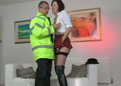 Wondrous British slut Lara Latex gonna ride the dick of kinky cop at home