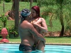 Curvy red-haired Latin hussy receives a finger fuck of tight pussy