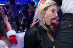 Dirty blonde gives eager deepthroat blowjob on the dance floor