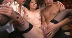 Asian sweety Maki Hojo takes part in hot group sex orgy