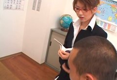 Luscious Japanese milf Nami Kimura gives a head to her boss