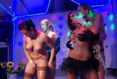 Buxom and seductive gals dance and seduce each other for hot sex in club