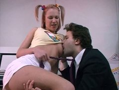 Trashy blonde teen is screwed hard in the office