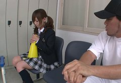 College chick Miku Airi is giving a head in a locker room