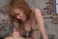 Cute Japanese girl plays with dick  on a pov cam