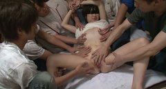 Several guys  play with AOBA ITOU's hairy pussy