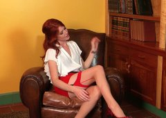 Elle Alexandra in red stockings masturbates her pussy