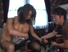 Beautiful Asian girl Ema Kisaki is giving awesome sloppy blowjob