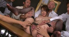 Dirty-minded filth Maki Hojo enjoys getting cunnilingus provided by some dudes