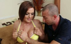 Spoiled red-haired milf Krissy Lynn gives a head to kinky daddy