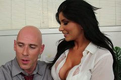 Steamy office manager Romi Rain gives a head to horny boss