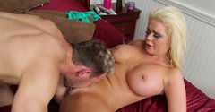 Bosomy blond hot stuff Alexis Ford rides massive cock