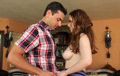 Adorable brunette Natalie Moore blows dick and gets her slit polished