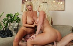 Two busty and booty babes Alura Jenson and Karen Fisher ride one guy